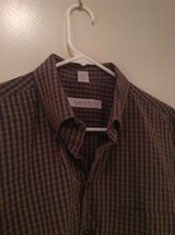 Haupt Evolution Blue Tan Checkered Button Up Shirt Long Sleeves Size Large image 2