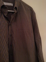 Haupt Evolution Blue Tan Checkered Button Up Shirt Long Sleeves Size Large image 3