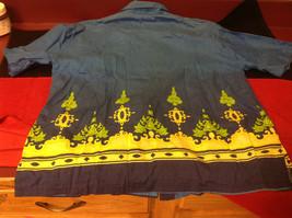 Hawaiian Mens Short Sleeved Shirt Blue Green Yellow Size Large image 7