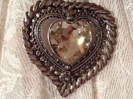 Heart Shaped with Tiny Flower at Bottom Large Heart Shaped Crystal Scarf Pendant image 3