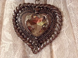 Heart Shaped with Tiny Flower at Bottom Large Heart Shaped Crystal Scarf Pendant image 4