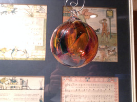Heirloom Glass Hand Blown Ornament Studio Glass Orange Burgundy Green image 2