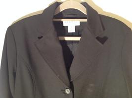 Hennes Collection Black Long Formal Jacket Front Pockets Shoulder Pads Size 10 image 3
