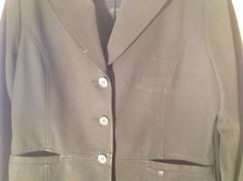 Hennes Collection Black Long Formal Jacket Front Pockets Shoulder Pads Size 10 image 4
