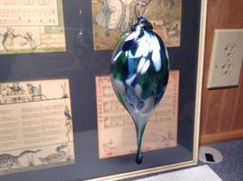 Heirloom Glass Hand Blown Pointed Drop Ornament Blue White Studio Glass image 3