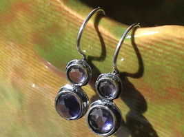 High Quality Faceted Round Amethyst Double Cabochon Sterling Silver Earrings image 2