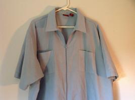 Lions Den Blue Light Gray Short Sleeve Zipper Closure Casual Shirt Size XXL image 2
