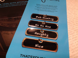 Ho Ho Collection Drink Tags With Attitude for Wine Glasses Naughty Bah Humbug image 3