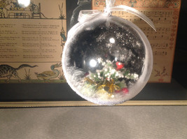 Holiday Christmas miniatures in snow encrusted winter scene ornament image 2