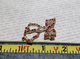 Holiday Pin Gold Tone Bow Tie Bells Inlaid Red Green White Element Crystals image 6