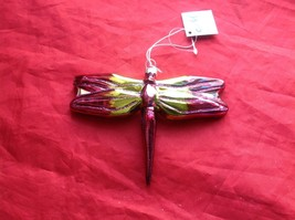 Holiday glass ornament Christmas Colorful iridescent Dragonfly 4 inches tall image 3