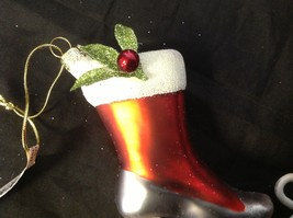 Holiday glass ornament Christmas ADORABLE red white green victorian ice skate image 4