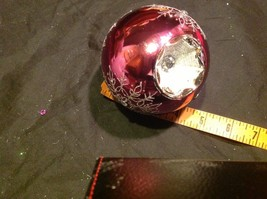 Holiday glass ornament Christmas rose or mauve mirror jeweled ball w snowflake image 3