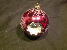 Holiday glass ornament Christmas rose or mauve mirror jeweled ball w snowflake image 2
