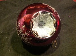 Holiday glass ornament Christmas rose or mauve mirror jeweled ball w snowflake image 4