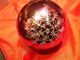 Holiday glass ornament Christmas rose or mauve mirror jeweled ball w snowflake image 7