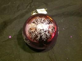 Holiday glass ornament Christmas rose or mauve mirror jeweled ball w snowflake image 9