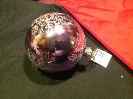 Holiday glass ornament Christmas rose or mauve mirror jeweled ball w snowflake image 11