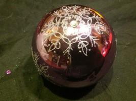 Holiday glass ornament Christmas rose or mauve mirror jeweled ball w snowflake image 10