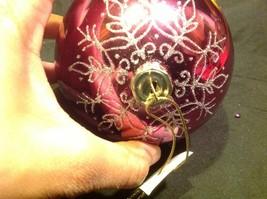 Holiday glass ornament Christmas rose or mauve mirror jeweled ball w snowflake image 5