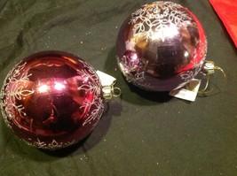 Holiday glass ornament Christmas rose or mauve mirror jeweled ball w snowflake image 12