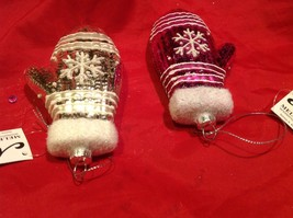 Holiday glass ornament Christmas pink or white mitten with snowflake design image 2
