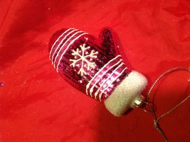 Holiday glass ornament Christmas pink or white mitten with snowflake design image 8