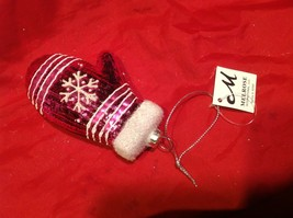 Holiday glass ornament Christmas pink or white mitten with snowflake design image 9