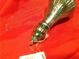 Holiday glass ornament Christmas ribbed aqua vintage inspired finial image 8