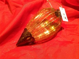 Holiday glass ornament Christmas vintage look metal drop ornaments in Amber image 4