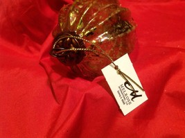 Holiday glass ornament Christmas vintage look metal drop ornaments in Amber image 6