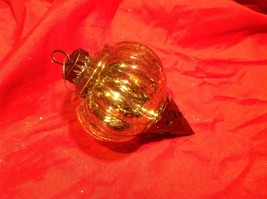 Holiday glass ornament Christmas vintage look metal drop ornaments in Amber image 9
