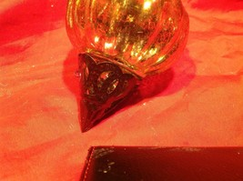 Holiday glass ornament Christmas vintage look metal drop ornaments in Amber image 10
