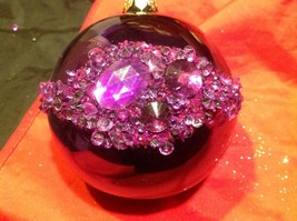 Holiday glass ornament Christmas shiny purple w jewel strips contemporary image 5