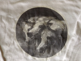 Long Sleeve White Shirt 3 Horses in Black and White on Front OHalloran Co Size L image 2