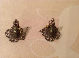 Lot of 3 pairs Floral dangling earrings, filigree metal, beads, mother of pearl image 4