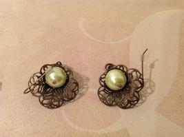 Lot of 3 pairs Floral dangling earrings, filigree metal, beads, mother of pearl image 7