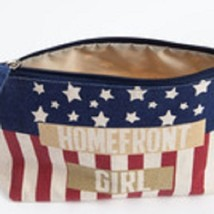 Homefront Girl travel cosmetic bag red white and blue image 3