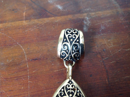 Lovely Small Clear Crystals Vintage Style Gold Tone Scarf Pendant image 4