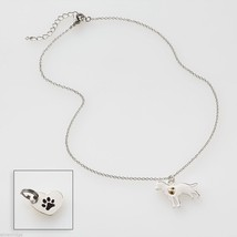 I love my rescue dog Necklace w gold heart w charm for your dog's collar SET image 2
