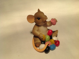I Love My Yum Yums Charming Tails Figurine Mouse Eating Colored Jellybeans image 2