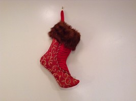 "Luxurious 16"" Red jacard and velvet w Faux fur trim stocking fully lined image 2"