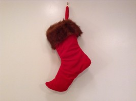 "Luxurious 16"" Red jacard and velvet w Faux fur trim stocking fully lined image 3"