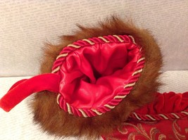 "Luxurious 16"" Red jacard and velvet w Faux fur trim stocking fully lined image 7"