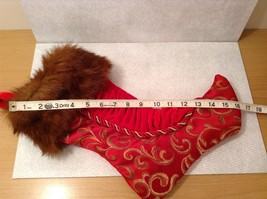 "Luxurious 16"" Red jacard and velvet w Faux fur trim stocking fully lined image 9"