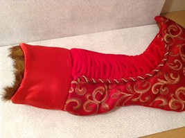 "Luxurious 16"" Red jacard and velvet w Faux fur trim stocking fully lined image 8"