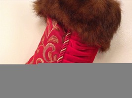 "Luxurious 16"" Red jacard and velvet w Faux fur trim stocking fully lined image 4"