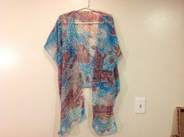 MAD fashion New Ms. Kimono Cover Up Top Blouse, one size fit all, Blue or Green image 2