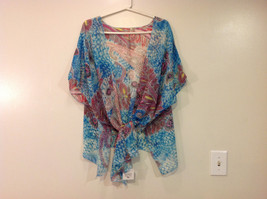 MAD fashion New Ms. Kimono Cover Up Top Blouse, one size fit all, Blue or Green image 3