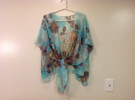 MAD fashion New Ms. Kimono Cover Up Top Blouse, one size fit all, Blue or Green image 11